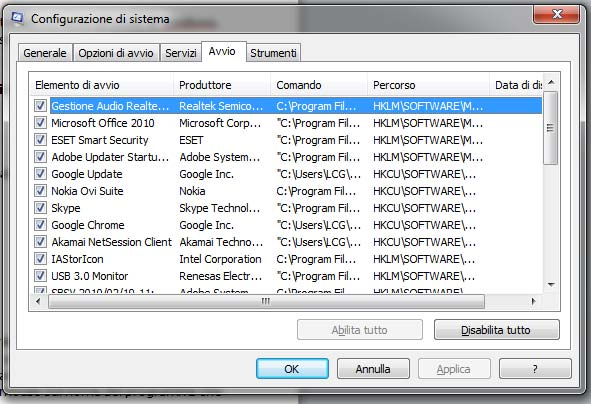 eliminare i programmi avvio windows 7