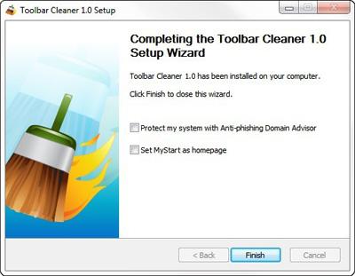 rimuovere toolbar